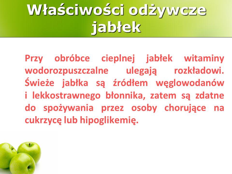 Smak dojrzałych jabłek jest słodko-kwaskowaty, rozmaite odmiany mogą być bardziej lub mniej słodkie lub kwaśne.