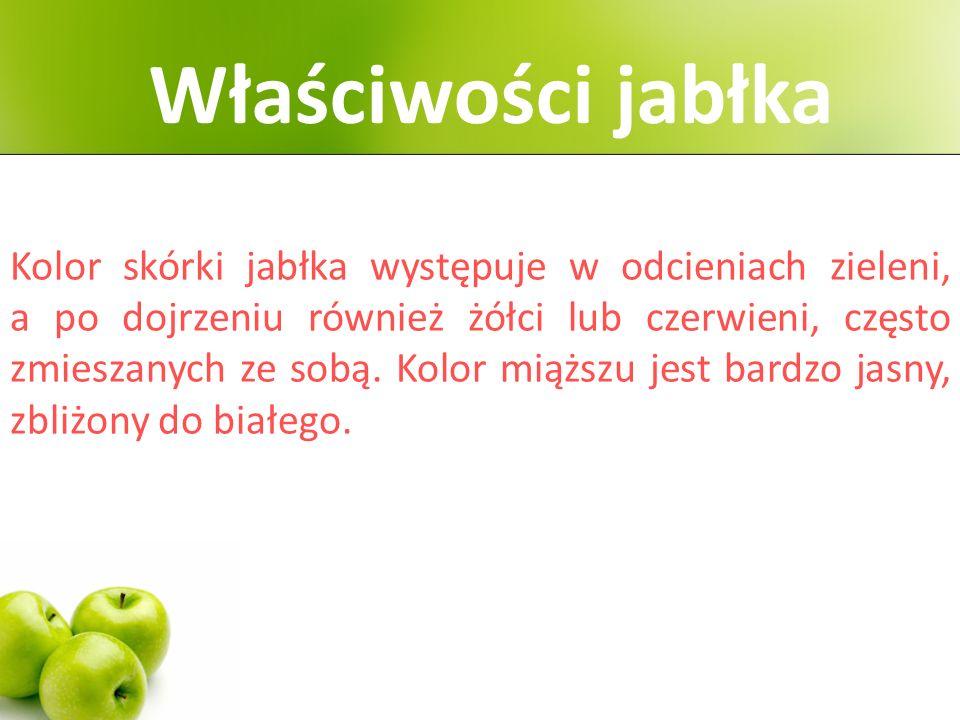 Kolor skórki jabłka występuje w odcieniach zieleni, a po dojrzeniu również żółci lub czerwieni, często zmieszanych ze sobą.