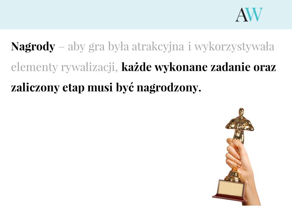 Nagrody – aby gra była atrakcyjna i wykorzystywała elementy rywalizacji, każde wykonane zadanie oraz zaliczony etap musi być nagrodzony.