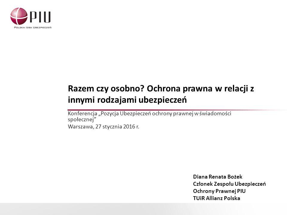 Dziękuję za uwagę Diana Renata Bożek Zespół Ubezpieczeń Ochrony Prawnej PIU TUiR Allianz diana.bozek@allianz.pl