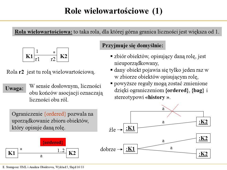 E. Stemposz. UML i Analiza Obiektowa, Wykład 5, Slajd 16/33 Role wielowartościowe (1) Rola wielowartościowa: to taka rola, dla której górna granica li