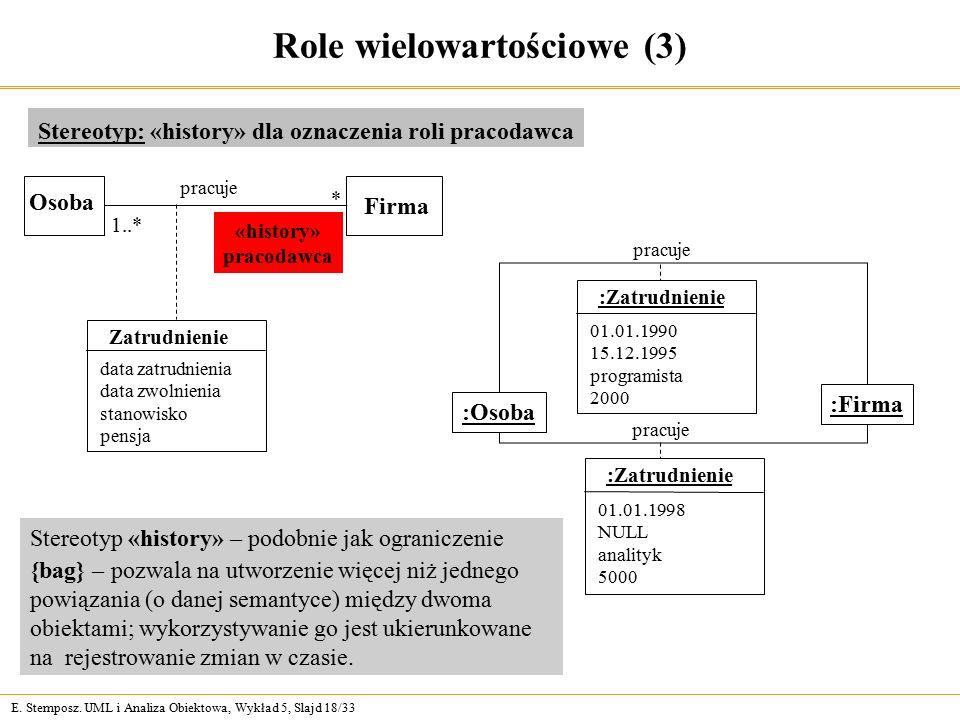 E. Stemposz. UML i Analiza Obiektowa, Wykład 5, Slajd 18/33 Role wielowartościowe (3) Stereotyp: «history» dla oznaczenia roli pracodawca Zatrudnienie