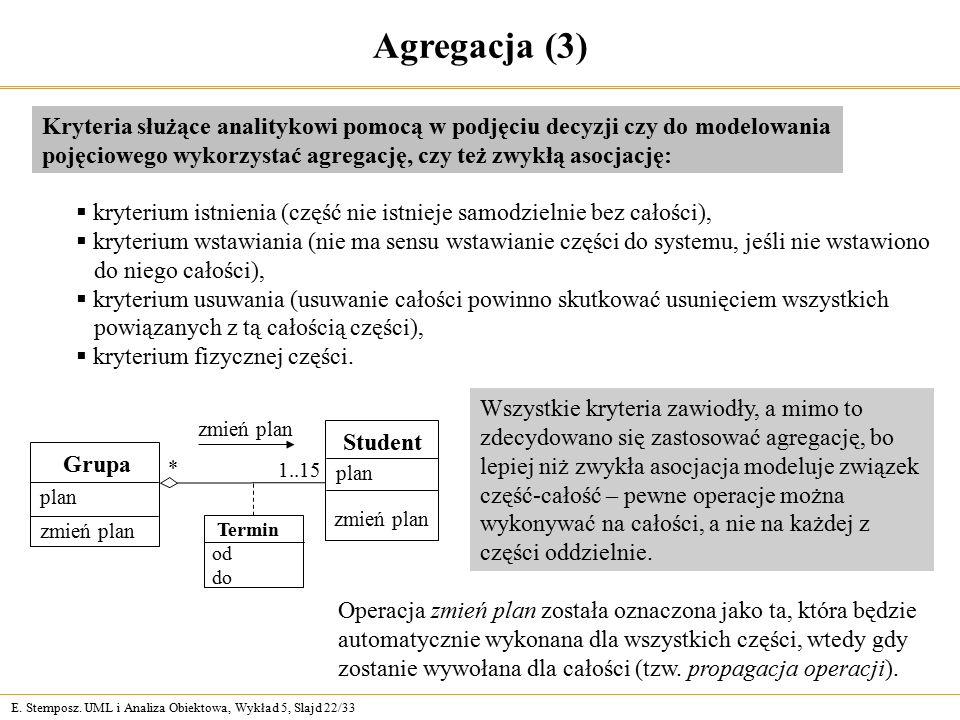 E. Stemposz. UML i Analiza Obiektowa, Wykład 5, Slajd 22/33 Agregacja (3) Kryteria służące analitykowi pomocą w podjęciu decyzji czy do modelowania po