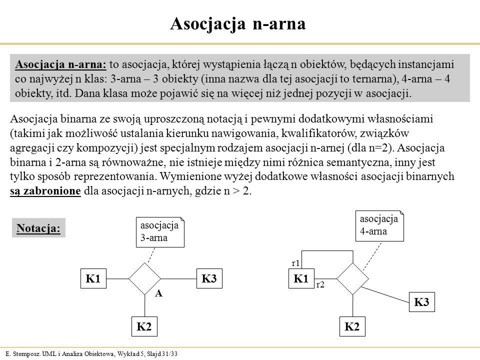 E. Stemposz. UML i Analiza Obiektowa, Wykład 5, Slajd 31/33 Asocjacja n-arna Asocjacja n-arna: to asocjacja, której wystąpienia łączą n obiektów, będą