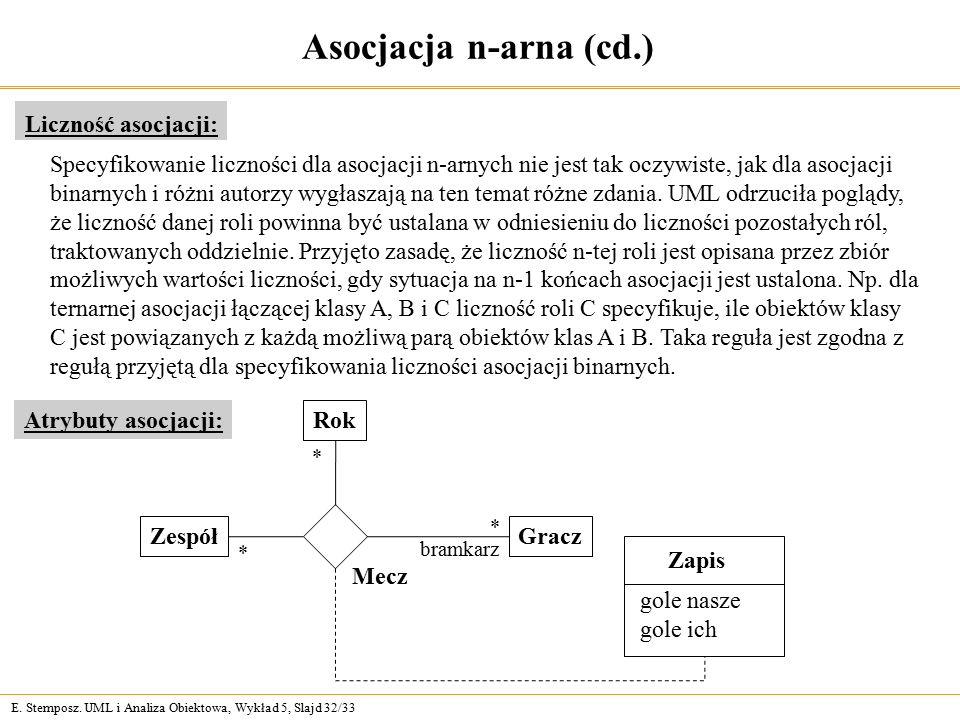 E. Stemposz. UML i Analiza Obiektowa, Wykład 5, Slajd 32/33 Asocjacja n-arna (cd.) Liczność asocjacji: Specyfikowanie liczności dla asocjacji n-arnych