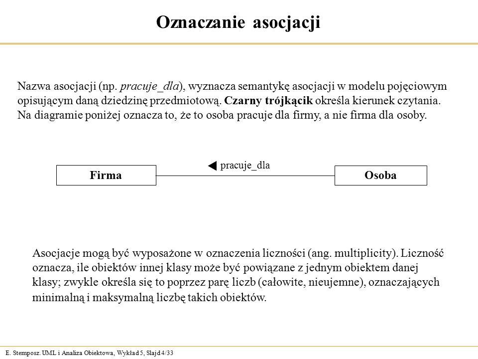 E. Stemposz. UML i Analiza Obiektowa, Wykład 5, Slajd 4/33 Oznaczanie asocjacji Nazwa asocjacji (np. pracuje_dla), wyznacza semantykę asocjacji w mode