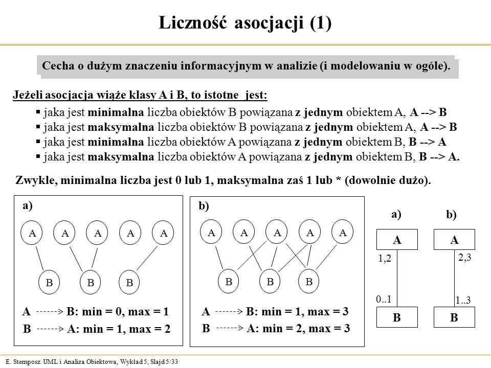 E. Stemposz. UML i Analiza Obiektowa, Wykład 5, Slajd 5/33 Liczność asocjacji (1) Cecha o dużym znaczeniu informacyjnym w analizie (i modelowaniu w og
