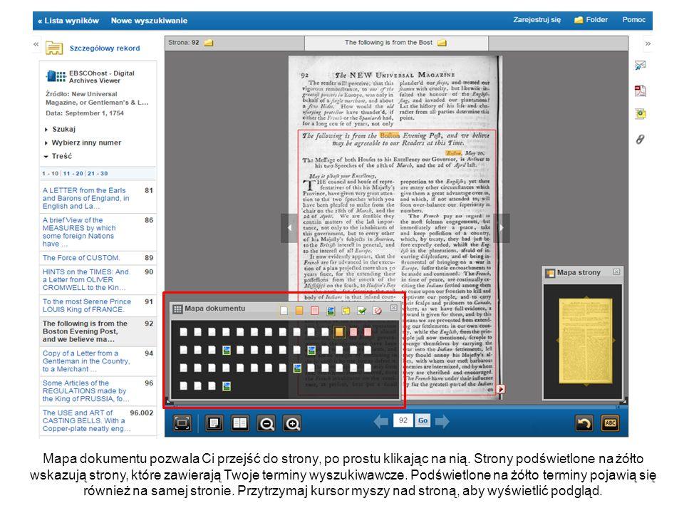 Ikony Mapy dokumentu wskazują rodzaj treści na każdej stronie, jak strony z ilustracjami lub strony z uwagami.