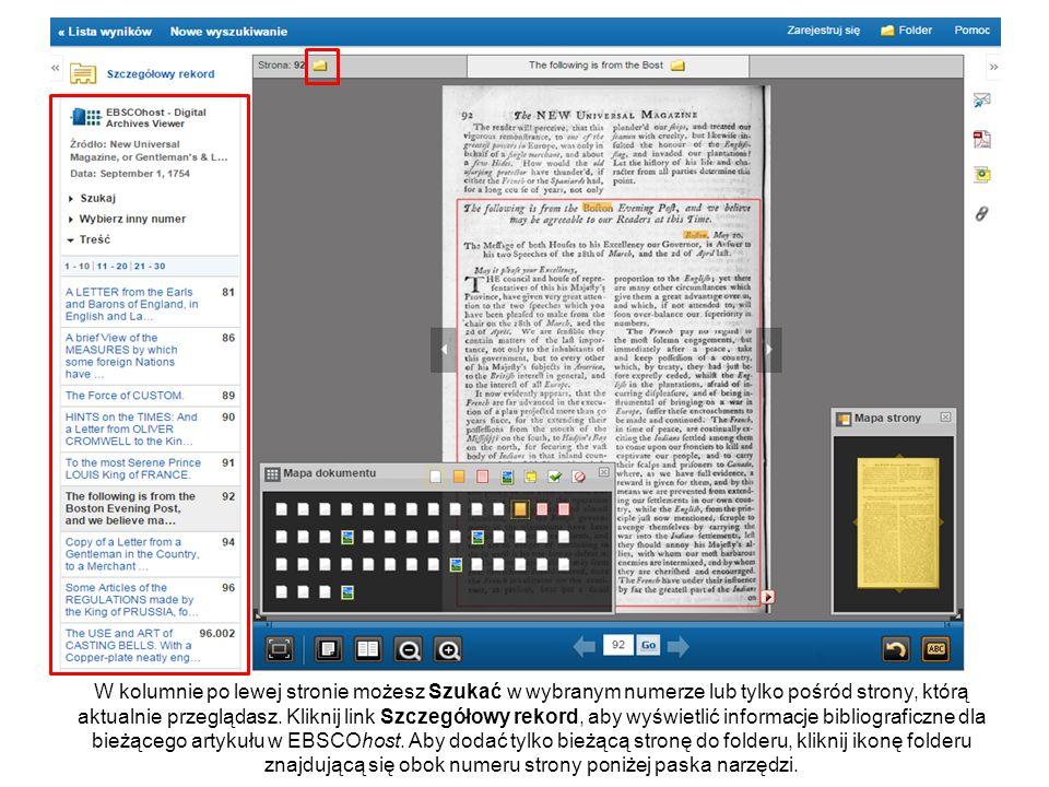 Wracając do Przeglądarki Cyfrowego Archiwum możesz przejść z powrotem do listy wyników EBSCOhost lub ekranu wyszukiwawczego wykorzystując linki w lewym górnym rogu.