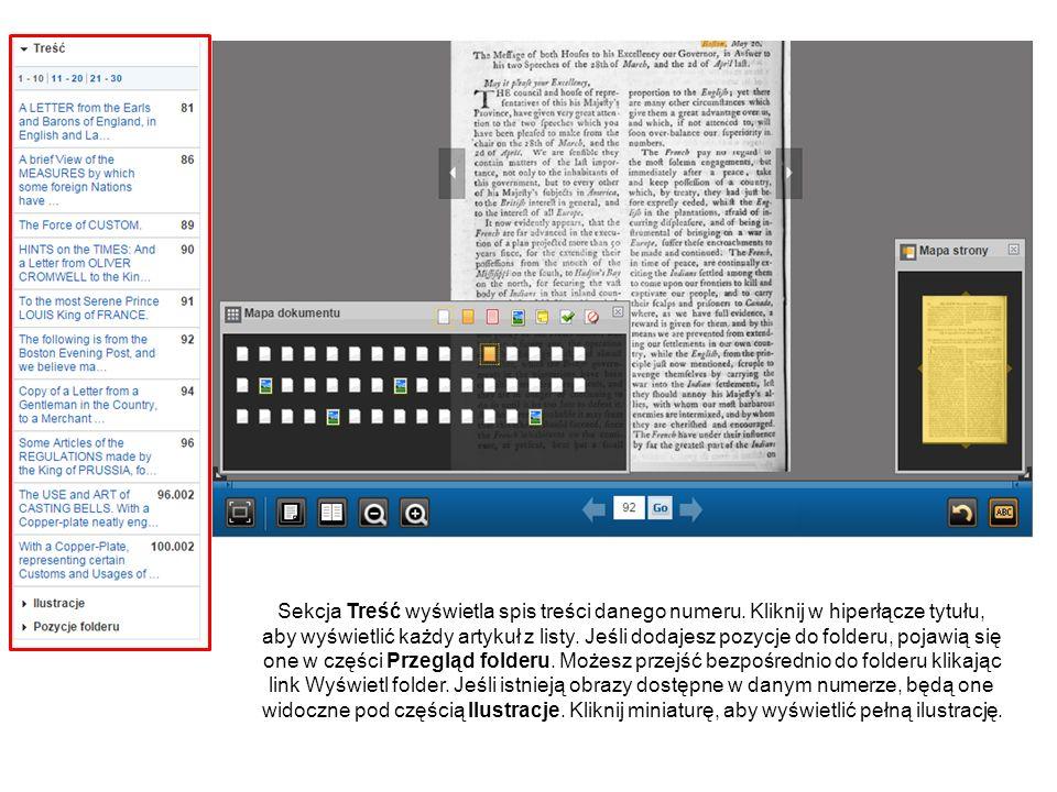 Wykorzystując przyciski po prawej stronie możesz wysłać e-mailem lub zapisać wersję PDF artykułu, dodać notatkę dotyczącą wyświetlanej strony lub artykułu, którą możesz zapisać w osobistym folderze, lub skopiować stały link do artykułu.