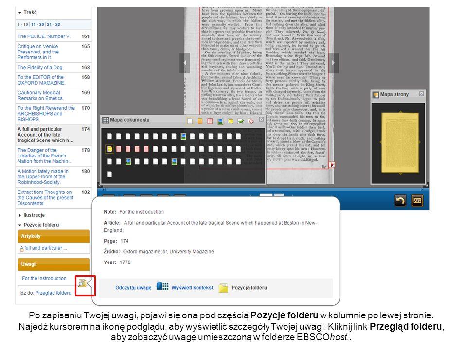 Możesz uzyskać dostęp do Twoich zapisanych uwag w folderze klikając Uwagi w menu po lewej stronie.