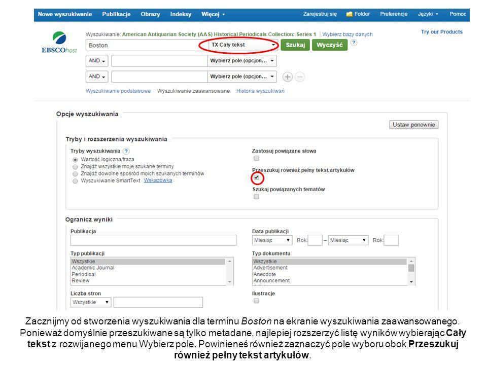 Lista wyników EBSCOhost z artykułami odpowiadającymi Twojemu terminowi wyszukiwawczemu jest wyświetlona.
