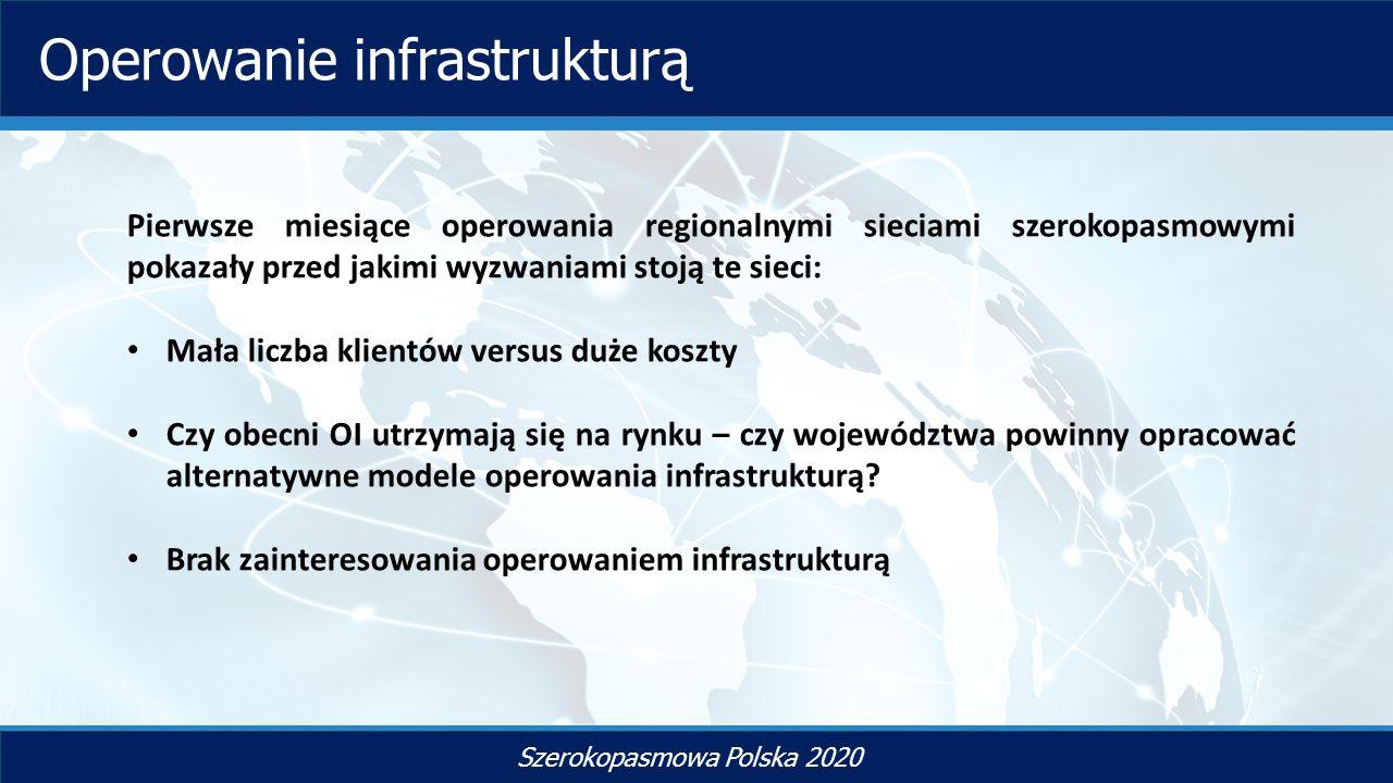 TYTUŁ SLAJDU Szerokopasmowa Polska 2020 Operowanie infrastrukturą Pierwsze miesiące operowania regionalnymi sieciami szerokopasmowymi pokazały przed jakimi wyzwaniami stoją te sieci: Mała liczba klientów versus duże koszty Czy obecni OI utrzymają się na rynku – czy województwa powinny opracować alternatywne modele operowania infrastrukturą.
