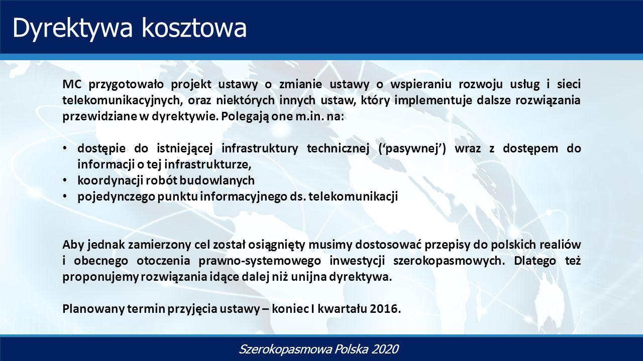 TYTUŁ SLAJDU Szerokopasmowa Polska 2020 Dyrektywa kosztowa MC przygotowało projekt ustawy o zmianie ustawy o wspieraniu rozwoju usług i sieci telekomunikacyjnych, oraz niektórych innych ustaw, który implementuje dalsze rozwiązania przewidziane w dyrektywie.