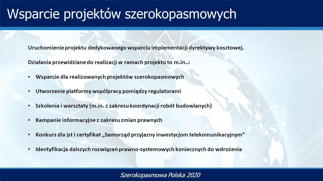 TYTUŁ SLAJDU Szerokopasmowa Polska 2020 Wsparcie projektów szerokopasmowych Uruchomienie projektu dedykowanego wsparciu implementacji dyrektywy kosztowej.