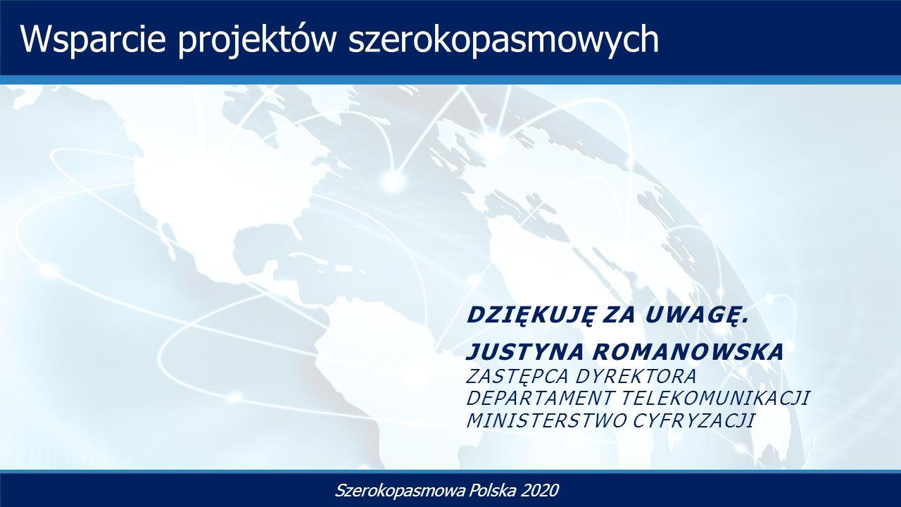 TYTUŁ SLAJDU Szerokopasmowa Polska 2020 Wsparcie projektów szerokopasmowych DZIĘKUJĘ ZA UWAGĘ.