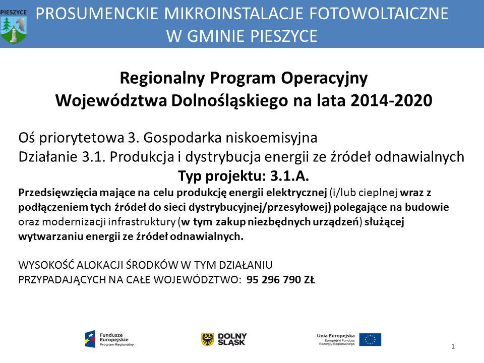 PROSUMENCKIE MIKROINSTALACJE FOTOWOLTAICZNE W GMINIE PIESZYCE 1 Regionalny Program Operacyjny Województwa Dolnośląskiego na lata 2014-2020 Oś prioryte