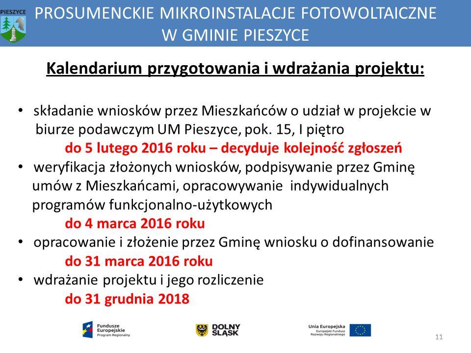 PROSUMENCKIE MIKROINSTALACJE FOTOWOLTAICZNE W GMINIE PIESZYCE 11 Kalendarium przygotowania i wdrażania projektu: składanie wniosków przez Mieszkańców