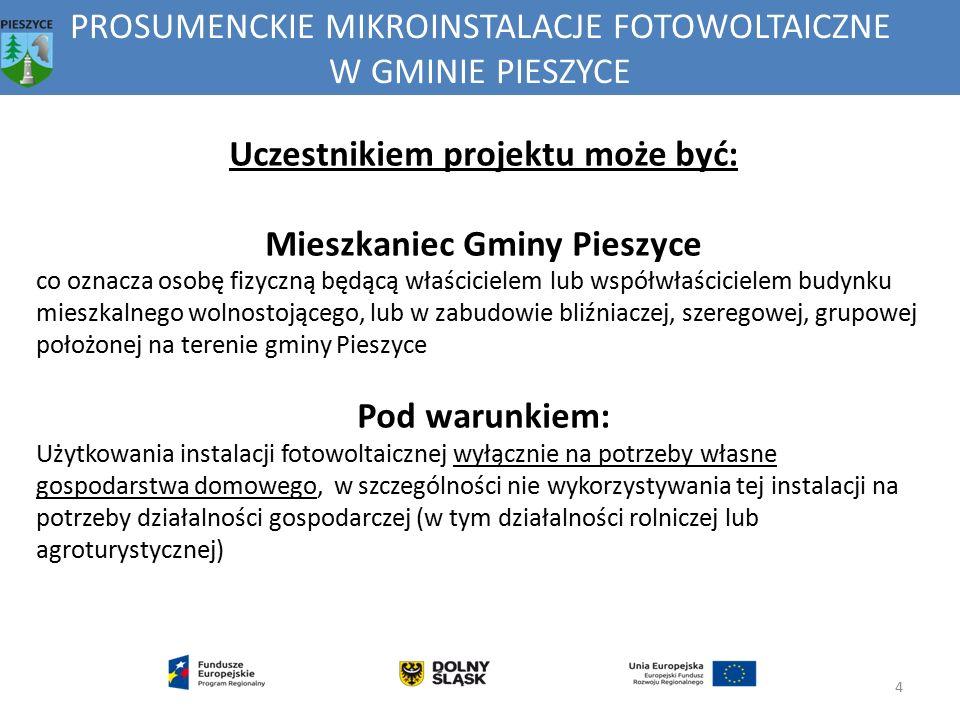 PROSUMENCKIE MIKROINSTALACJE FOTOWOLTAICZNE W GMINIE PIESZYCE 4 Uczestnikiem projektu może być: Mieszkaniec Gminy Pieszyce co oznacza osobę fizyczną b