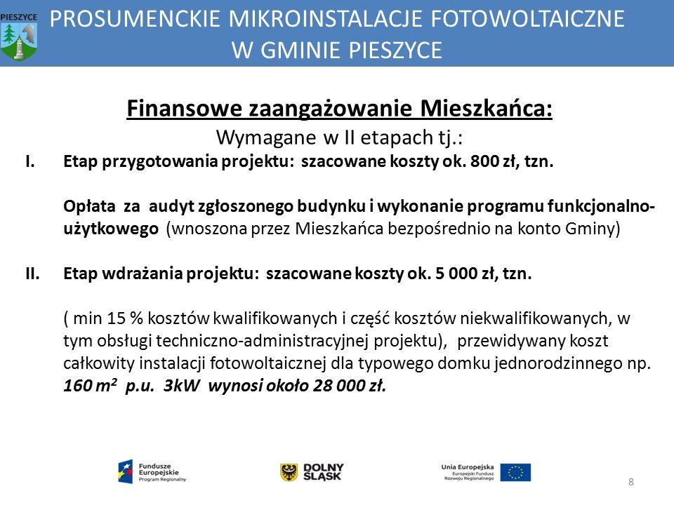 PROSUMENCKIE MIKROINSTALACJE FOTOWOLTAICZNE W GMINIE PIESZYCE 8 Finansowe zaangażowanie Mieszkańca: Wymagane w II etapach tj.: I.Etap przygotowania pr