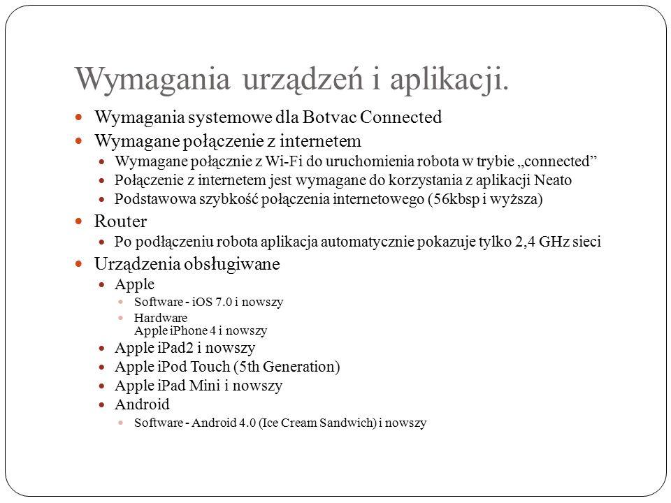 Wymagania urządzeń i aplikacji.