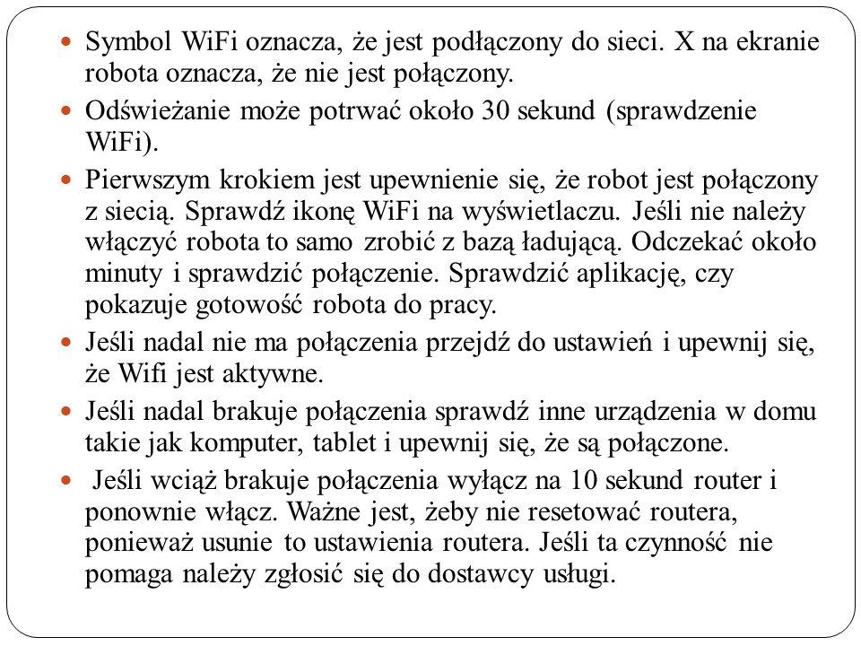 Symbol WiFi oznacza, że jest podłączony do sieci.