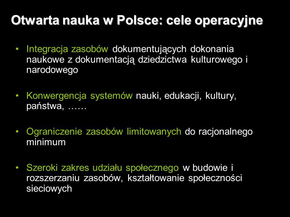 10 Otwarta nauka w Polsce: cele operacyjne Integracja zasobów dokumentujących dokonania naukowe z dokumentacją dziedzictwa kulturowego i narodowego Konwergencja systemów nauki, edukacji, kultury, państwa, …… Ograniczenie zasobów limitowanych do racjonalnego minimum Szeroki zakres udziału społecznego w budowie i rozszerzaniu zasobów, kształtowanie społeczności sieciowych