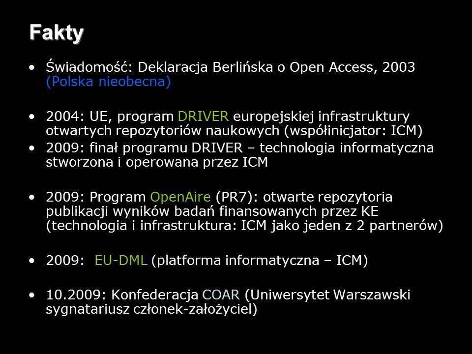 12 Fakty Świadomość: Deklaracja Berlińska o Open Access, 2003 (Polska nieobecna) 2004: UE, program DRIVER europejskiej infrastruktury otwartych repozytoriów naukowych (współinicjator: ICM) 2009: finał programu DRIVER – technologia informatyczna stworzona i operowana przez ICM 2009: Program OpenAire (PR7): otwarte repozytoria publikacji wyników badań finansowanych przez KE (technologia i infrastruktura: ICM jako jeden z 2 partnerów) 2009: EU-DML (platforma informatyczna – ICM) 10.2009: Konfederacja COAR (Uniwersytet Warszawski sygnatariusz członek-założyciel)