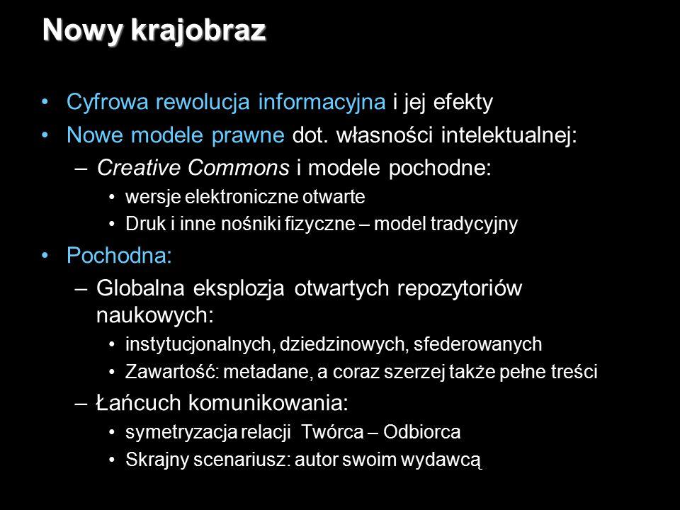 19 Nowy krajobraz Cyfrowa rewolucja informacyjna i jej efekty Nowe modele prawne dot. własności intelektualnej: –Creative Commons i modele pochodne: w