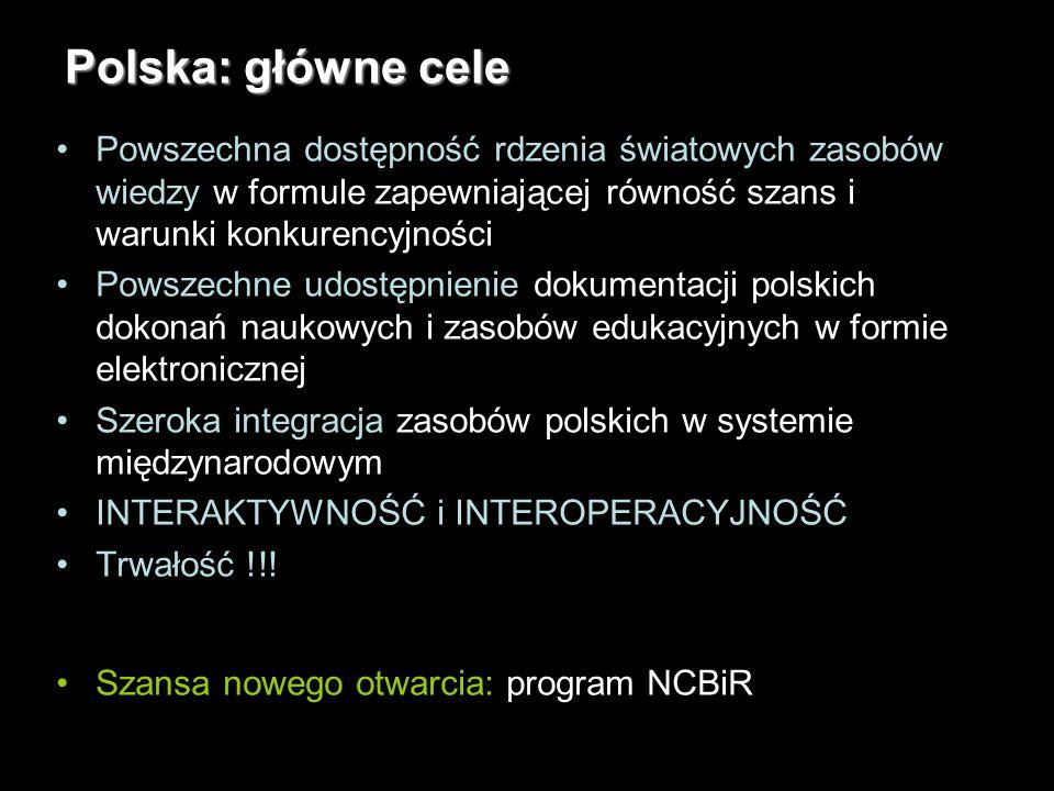 6 Polska: główne cele Powszechna dostępność rdzenia światowych zasobów wiedzy w formule zapewniającej równość szans i warunki konkurencyjności Powszechne udostępnienie dokumentacji polskich dokonań naukowych i zasobów edukacyjnych w formie elektronicznej Szeroka integracja zasobów polskich w systemie międzynarodowym INTERAKTYWNOŚĆ i INTEROPERACYJNOŚĆ Trwałość !!.