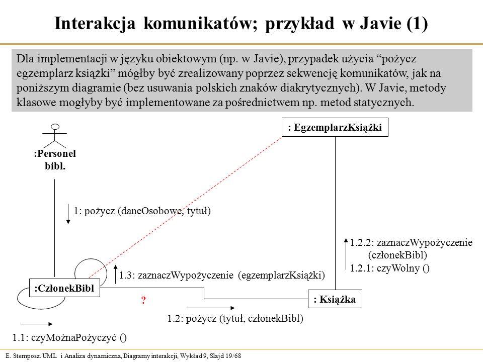 E. Stemposz. UML i Analiza dynamiczna, Diagramy interakcji, Wykład 9, Slajd 19/68 Interakcja komunikatów; przykład w Javie (1) :Personel bibl. : Egzem