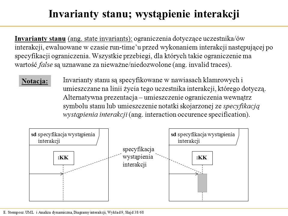 E. Stemposz. UML i Analiza dynamiczna, Diagramy interakcji, Wykład 9, Slajd 38/68 Invarianty stanu; wystąpienie interakcji Invarianty stanu (ang. stat
