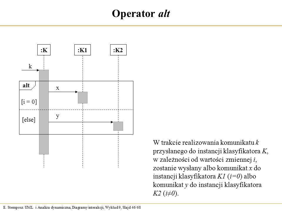 E. Stemposz. UML i Analiza dynamiczna, Diagramy interakcji, Wykład 9, Slajd 46/68 Operator alt :K k alt [i = 0] [else] :K1:K2 x y W trakcie realizowan
