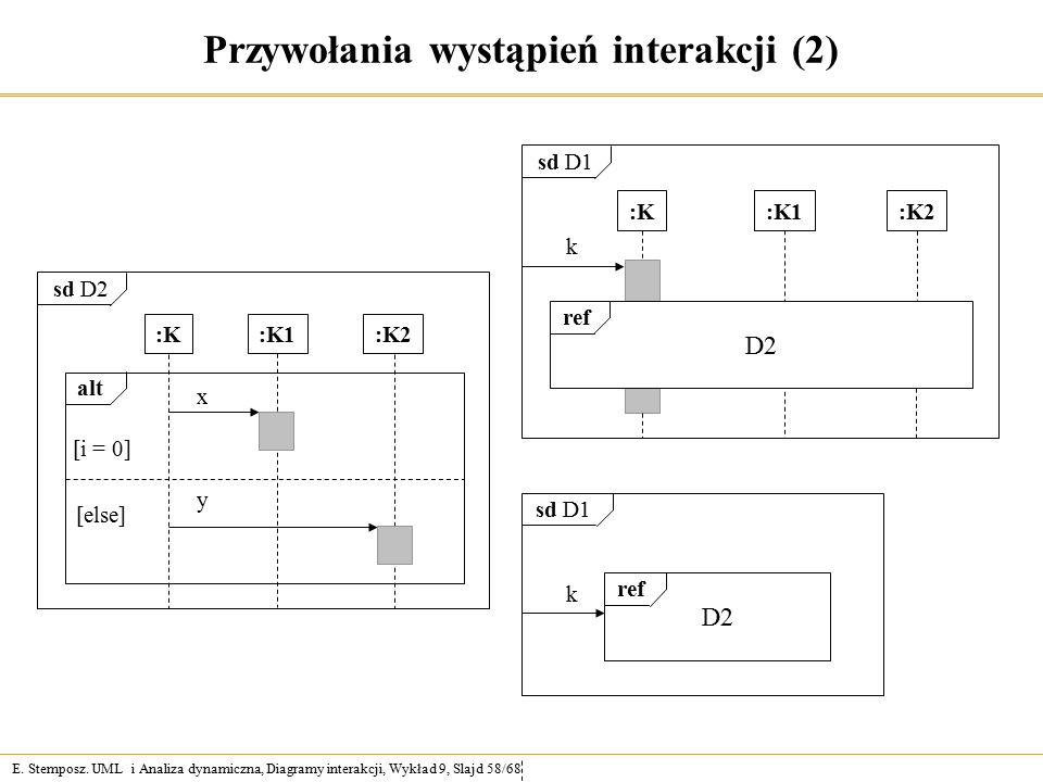 E. Stemposz. UML i Analiza dynamiczna, Diagramy interakcji, Wykład 9, Slajd 58/68 Przywołania wystąpień interakcji (2) alt [i = 0] [else] x y sd D2 :K