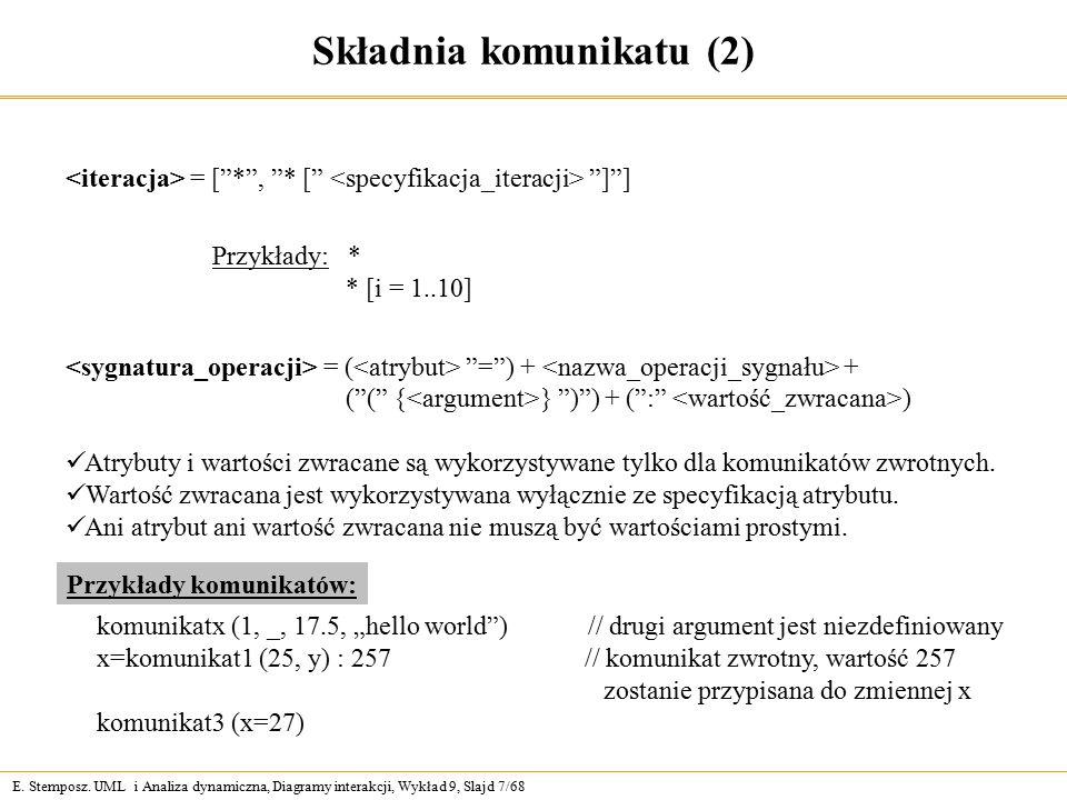 """E. Stemposz. UML i Analiza dynamiczna, Diagramy interakcji, Wykład 9, Slajd 7/68 Składnia komunikatu (2) = [""""*"""", """"* ["""" """"]""""] Przykłady: * * [i = 1..10]"""