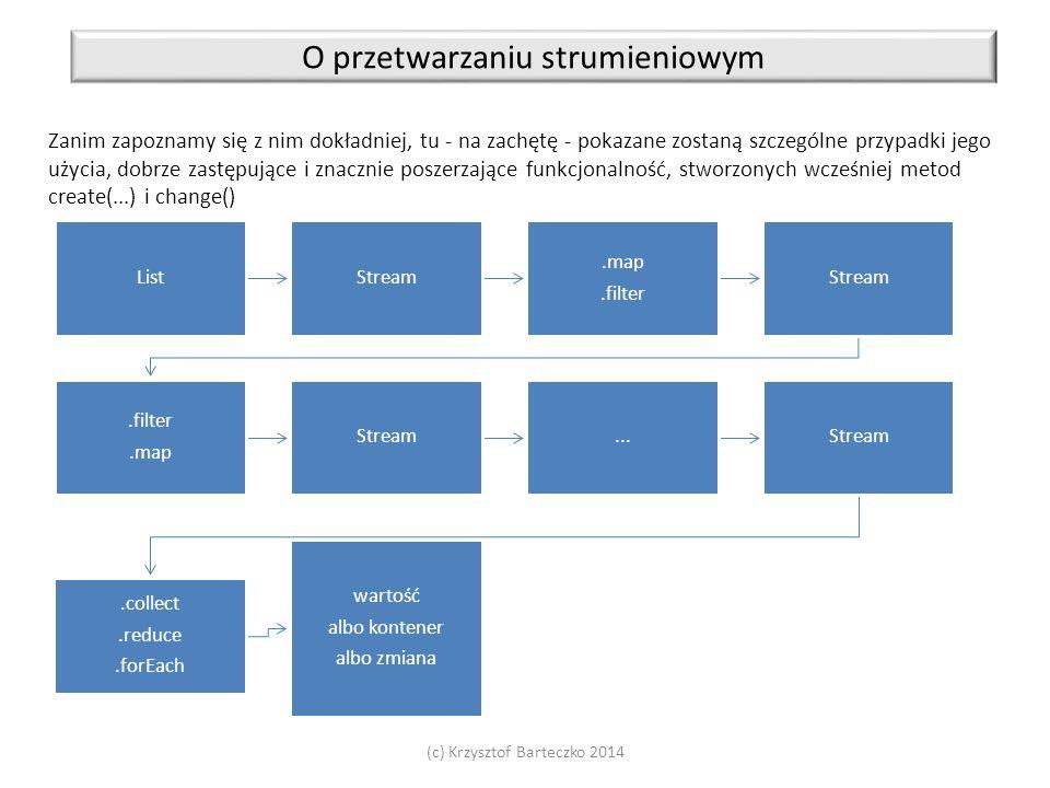 (c) Krzysztof Barteczko 2014 O przetwarzaniu strumieniowym Zanim zapoznamy się z nim dokładniej, tu - na zachętę - pokazane zostaną szczególne przypad