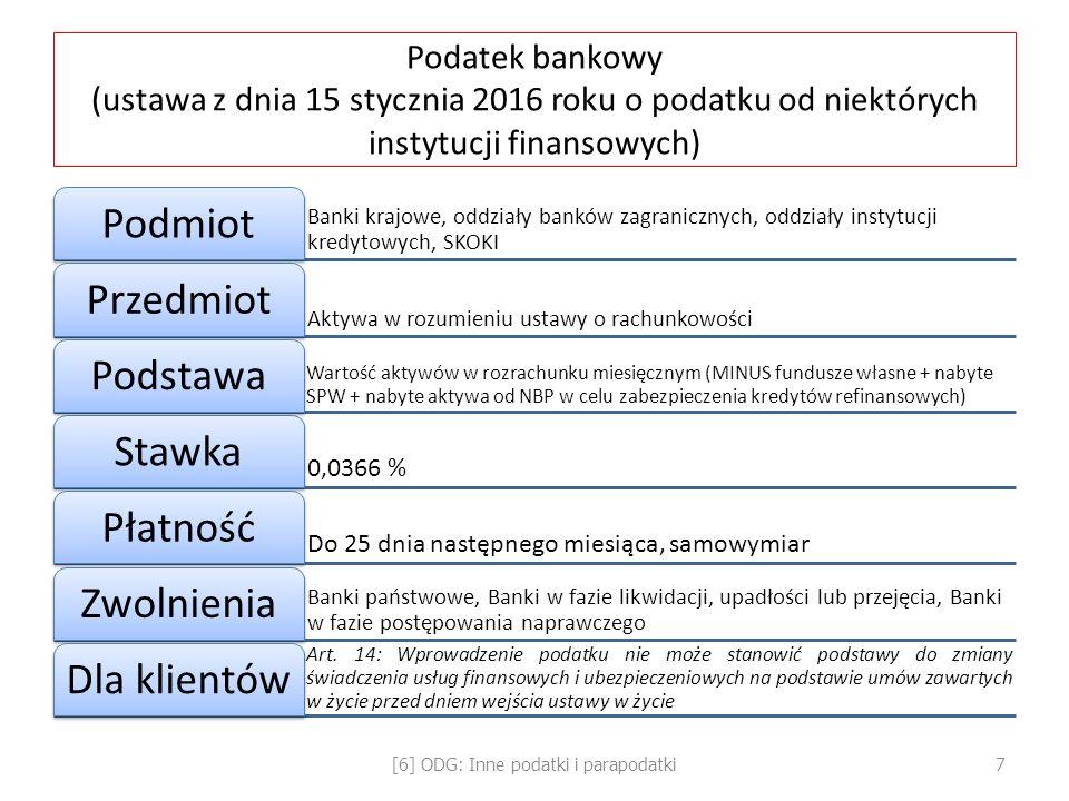 Podatek bankowy (ustawa z dnia 15 stycznia 2016 roku o podatku od niektórych instytucji finansowych) Banki krajowe, oddziały banków zagranicznych, odd