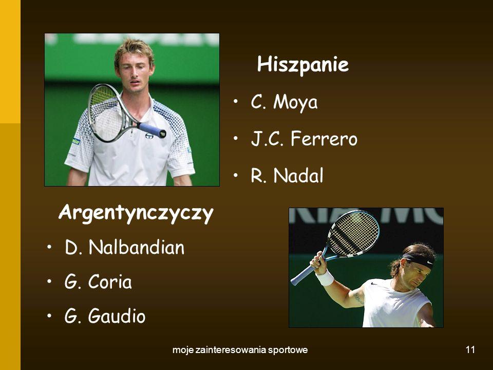 moje zainteresowania sportowe 11 Hiszpanie C. Moya J.C. Ferrero R. Nadal Argentynczyczy D. Nalbandian G. Coria G. Gaudio