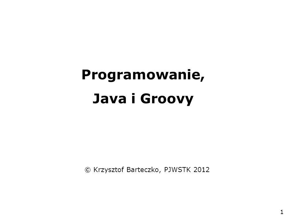 1 Programowanie, Java i Groovy © Krzysztof Barteczko, PJWSTK 2012