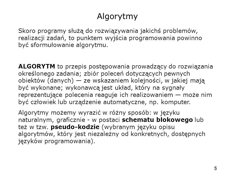 5 Algorytmy Skoro programy służą do rozwiązywania jakichś problemów, realizacji zadań, to punktem wyjścia programowania powinno być sformułowanie algo