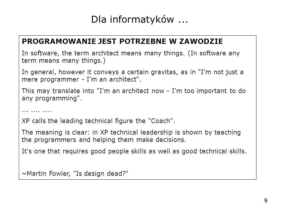 9 Dla informatyków... PROGRAMOWANIE JEST POTRZEBNE W ZAWODZIE In software, the term architect means many things. (In software any term means many thin