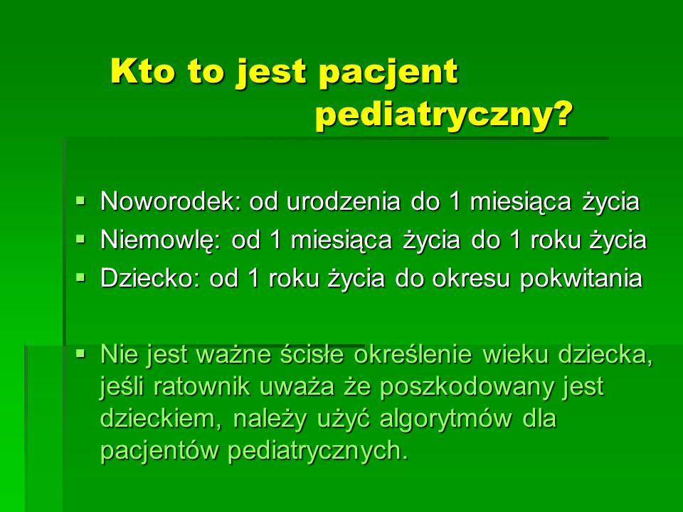Kto to jest pacjent pediatryczny?  Noworodek: od urodzenia do 1 miesiąca życia  Niemowlę: od 1 miesiąca życia do 1 roku życia  Dziecko: od 1 roku ż