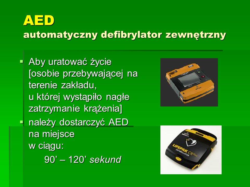 AED automatyczny defibrylator zewnętrzny  Aby uratować życie [osobie przebywającej na terenie zakładu, u której wystąpiło nagłe zatrzymanie krążenia]