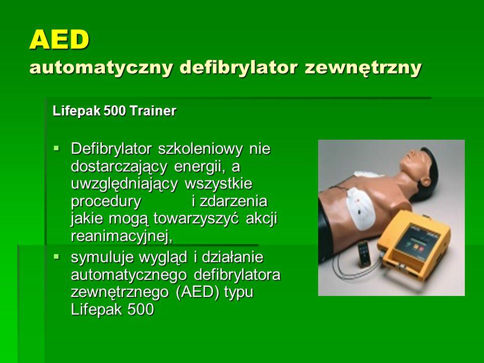 AED automatyczny defibrylator zewnętrzny Lifepak 500 Trainer  Defibrylator szkoleniowy nie dostarczający energii, a uwzględniający wszystkie procedur