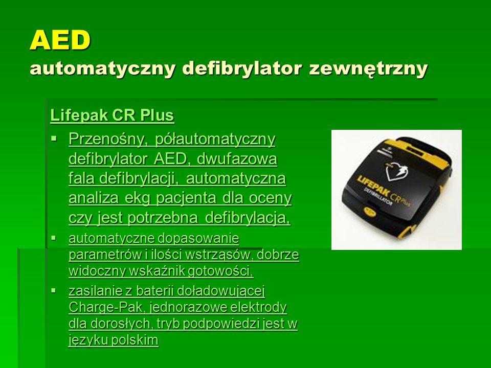 AED automatyczny defibrylator zewnętrzny Lifepak CR Plus Lifepak CR Plus  Przenośny, półautomatyczny defibrylator AED, dwufazowa fala defibrylacji, a