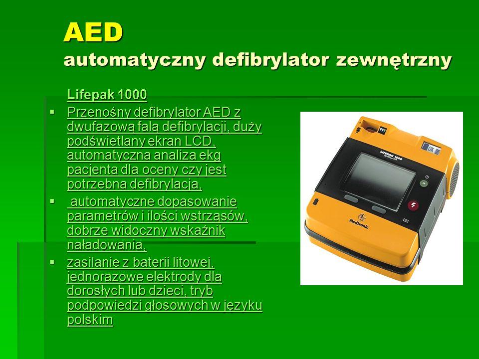 AED automatyczny defibrylator zewnętrzny Lifepak 1000 Lifepak 1000  Przenośny defibrylator AED z dwufazową falą defibrylacji, duży podświetlany ekran