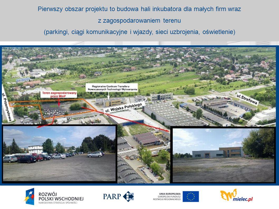 Pierwszy obszar projektu to budowa hali inkubatora dla małych firm wraz z zagospodarowaniem terenu (parkingi, ciągi komunikacyjne i wjazdy, sieci uzbrojenia, oświetlenie)