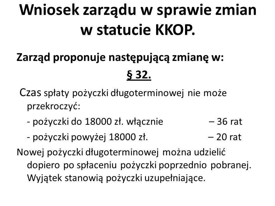 Wniosek zarządu w sprawie zmian w statucie KKOP. Zarząd proponuje następującą zmianę w: § 32.