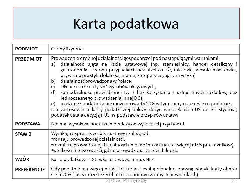 Karta podatkowa PODMIOTOsoby fizyczne PRZEDMIOT Prowadzenie drobnej działalności gospodarczej pod następującymi warunkami: a)działalność ujęta na liście ustawowej (np.