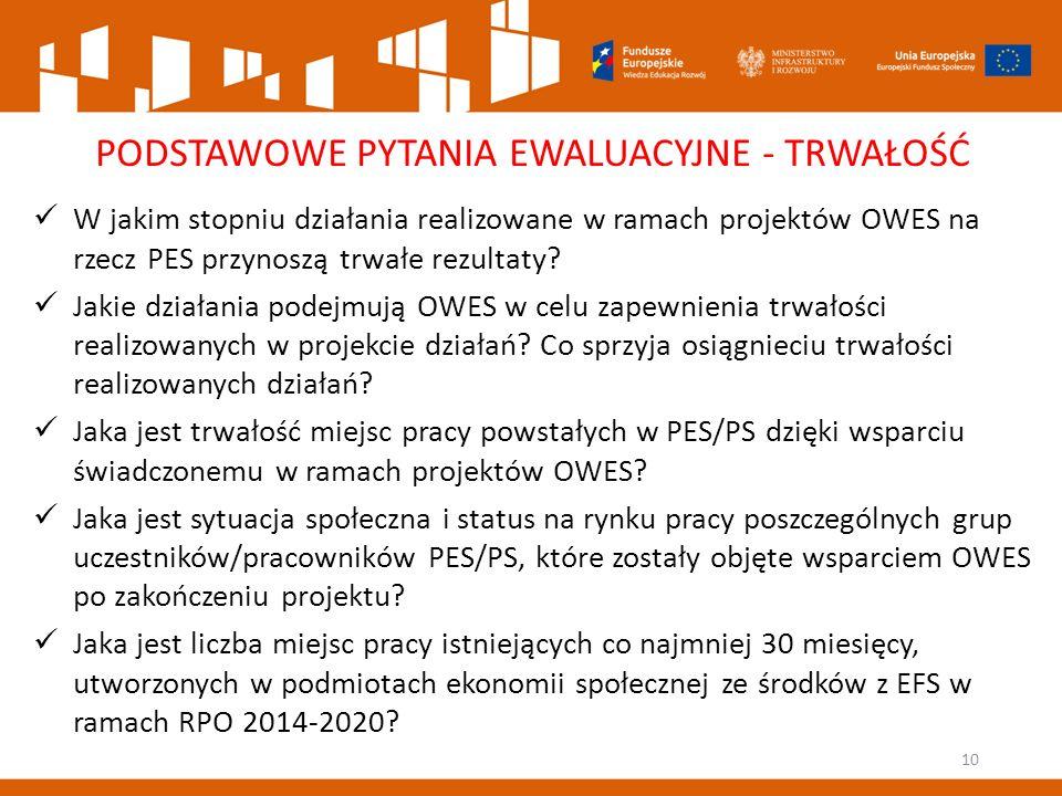 10 PODSTAWOWE PYTANIA EWALUACYJNE - TRWAŁOŚĆ W jakim stopniu działania realizowane w ramach projektów OWES na rzecz PES przynoszą trwałe rezultaty.